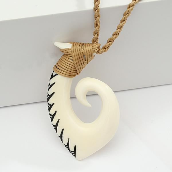 28x48mm Buffalo Bone Fish Hook Necklace w/Blace Enamel Carving