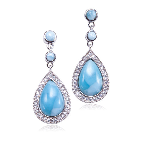Sterling Silver Larimar Water Drop Stud Earring with Cubic Zirconia Inlay