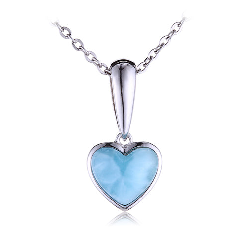 Sterling Silver Heart Shape With Larimar Inlay Pendant(Chain Sold Separately)