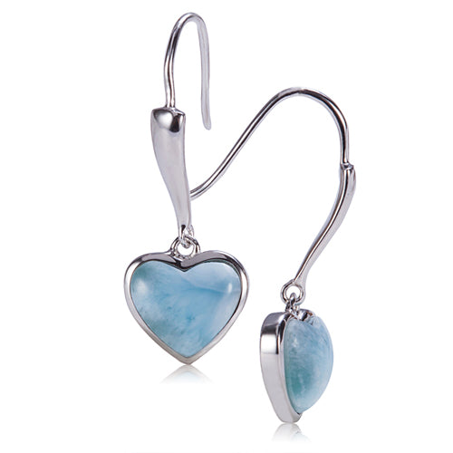 Sterling Silver Heart Shape With Larimar Inlay Hook Earring