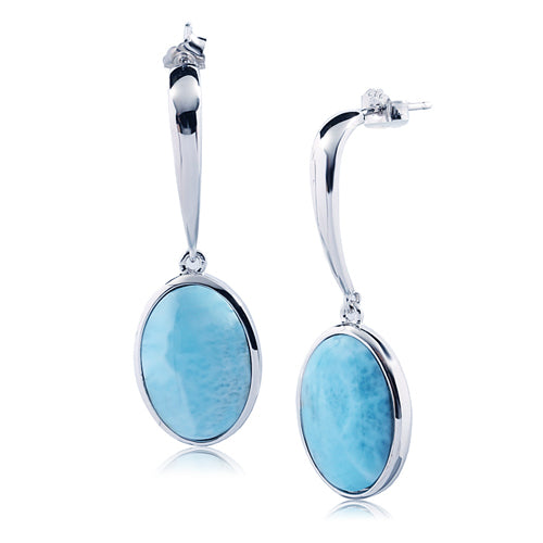 Sterling Silver Oval Shape With Larimar Inlay Hanging Stud Earring