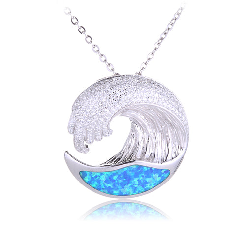 Sterling Silver Pave Cubic Zirconia Wave Pendant with Opal Inlay(Chain Sold Separately)