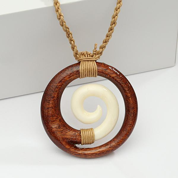 Koa Wood/Cow Bone Wave in Circle Necklace 40mm