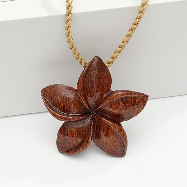Koa Wood Plumeria Necklace 40mm Brown Cord