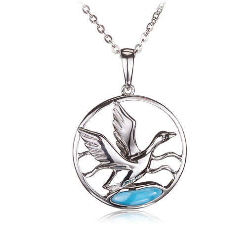 Sterling Silver Mallard in Circle Pendant with Larimar Inlay(Chain Sold Separately)