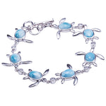 Sterling Silver Larimar Inlay Sea Turtle Bracelet