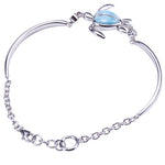 Single Honu(Turtle) Larimar Inlay with Bar and Link Chain Sterling Silver Bracelet