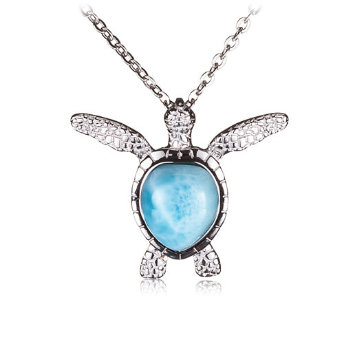 Sterling Silver Larimar Inlay Swimming Sea Turtle Pendant(Chain Sold Separately)