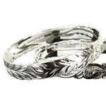 Sterling Silver Hawaiian Bangle Maile Leaf Engraving Cut Out Edge