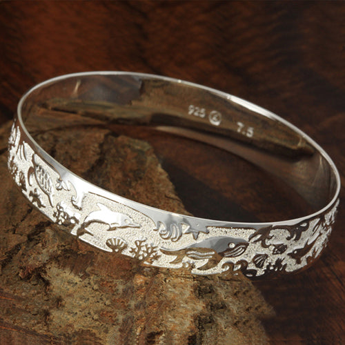 Sterling Silver Hawaiian Sea Life Bangle