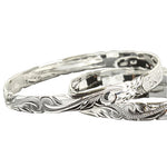 Sterling Silver Hawaiian Heirloom Bangle Raise Letter Kuuipo Cut Out Edge