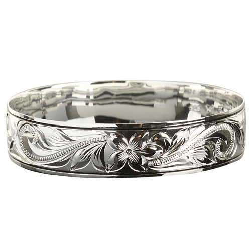 Sterling Silver Scroll Plumeria Engraving Hawaiian Heirloom Bangle Black Border