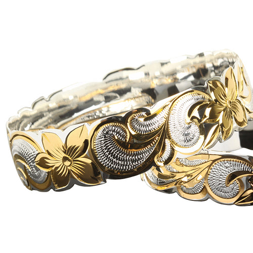 Hawaiian Sterling Silver Bangle Queen Scroll Engraving Cut Out Edge Yellow Gold Two Tone