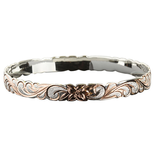 Hawaiian Sterling Silver Bangle Queen Scroll Engraving Cut Out Edge Pink Gold Two Tone