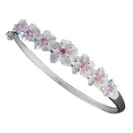 Seven Plumeria Flower Open Bangle With CZ Inlay