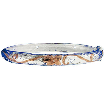 Hawaiian Jewelry Scroll See Through Oval Open Bangle 8mm Two Tone