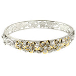 Hawaiian Jewelry 10-15mm 6 Plumeria Rhodium Bangle One Tone