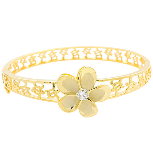 Hawaiian Jewelry 22mm Plumeria Rhodium Bangle YG Coating