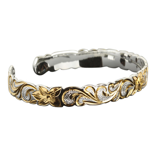Hawaiian Jewelry Queen Cut Out Two Tone Cuff Bangle