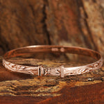 Pink Gold Plated Sterling Silver Handcrafted Scroll Baby Bangle