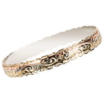14K Tri-Color Gold Hawaiian Scrolling Double Bangle Cut Out Edge