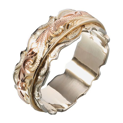 14K Tri-Color Gold Hawaiian Scroll Engraving Double Ring Out Edge