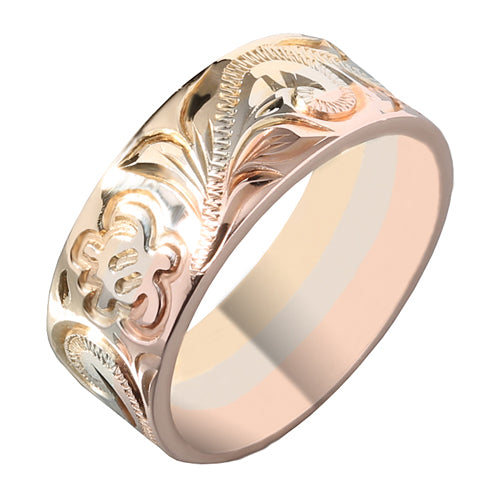 14K Tri-Color Gold Hawaiian Scrolling with Honu Ring Smooth Edge 8mm