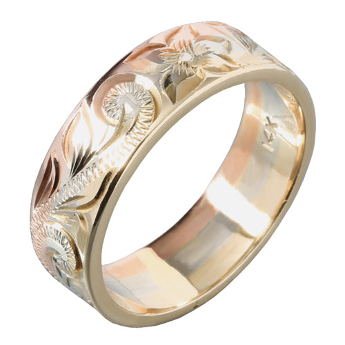 14K Tri-Color Gold Hawaiian Scroll with Plumeria Engraving Ring Smooth Edge 6mm