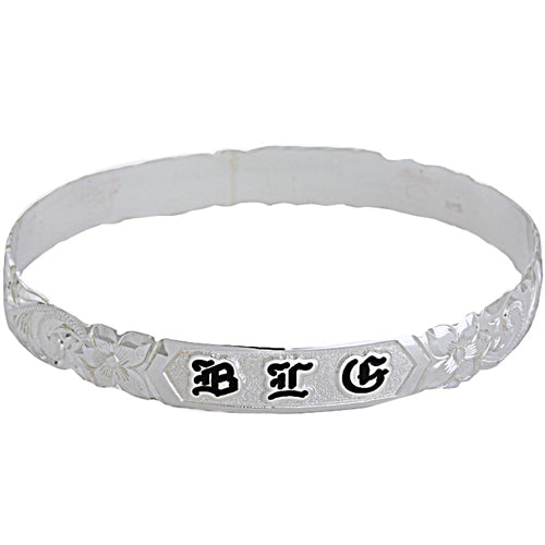 Sterling Silver Custom-made King Scroll Black Enamel Raise Letter Cut Out Edge Bangle (Heavy 1.75)