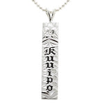 Sterling Silver Custom-made Plumeria Black Ename Letter Diamond Cut Vertical Pendant (Heavy 1.75)