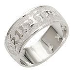 Sterling Silver Custom-made Ring Plumeria King Scroll Raise Letter Smooth Edge Ring (Heavy 1.75)