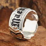 Sterling Silver Custom-made Ring Plumeria with Black Outline Scroll Engraving Black Enamel Ring (Heavy 1.75)