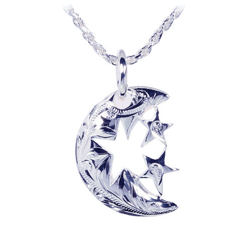 Sterling Silver Scroll Half Moon+2star Pendant