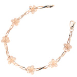 14k Pink Gold Plumeria Twist Bar Bracelet