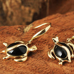 Yellow Gold Black Coral Inlaid Honu(Hawaiian Turtle) Shape Hook Earring
