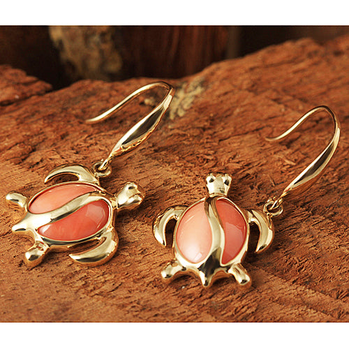 Yellow Gold Pink Coral Inlaid Honu(Hawaiian Turtle) Shape Hook Earring