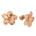 Pink Gold Plumeria Post Earring 13mm