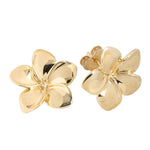 Yellow Gold Plumeria Post Earring 16mm
