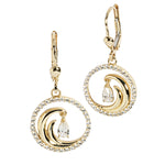 14K Yellow Gold Wave in Circle Earring CZ Inlay Lever Back