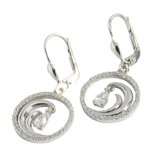 14K White Gold Wave in Circle Earring CZ inlay Lever Back
