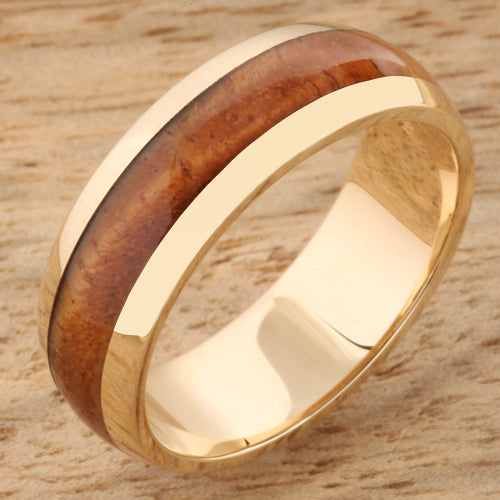 Yellow Gold Koa Wood Rings Dome Shape Wedding Ring 7mm