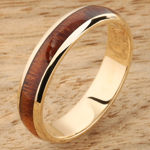 14K Yellow Gold Koa Wood Ring 5mm Band Dome Shape