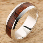 14K White Gold Natural Hawaiian Koa Wood Inlaid Wedding Ring 7mm