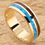 14K Yellow Gold Natural Hawaiian Koa Wood and Opal Inlay Wedding Ring 6mm