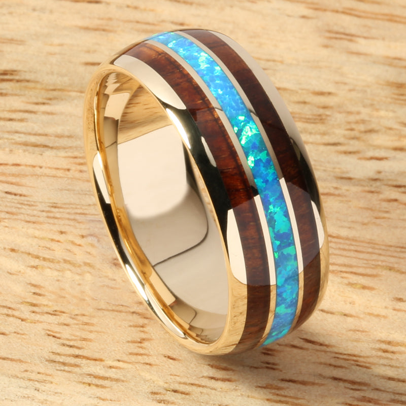 Solid Yellow Gold(10K) Opal Koa Wood Ring Triple Row Dome Shape 8mm