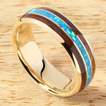 Solid Yellow Gold(10K) Opal Koa Wood Ring Triple Row Dome Shape 6mm