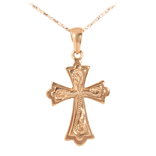 Hawaiian Jewelry 14KT Pink Gold Raised Cross Pendant