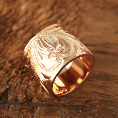 Pink Gold Two Ring with Scroll Engraving Pendant