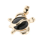 Yellow Gold Black Coral Inlaid Honu(Hawaiian Turtle) Shape Pendant