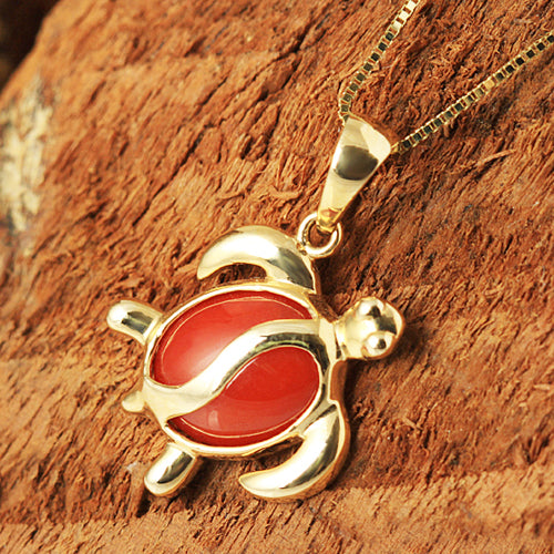 14K Yellow Gold Red Coral Inlay Honu(Hawaiian Turtle) Shape Pendant